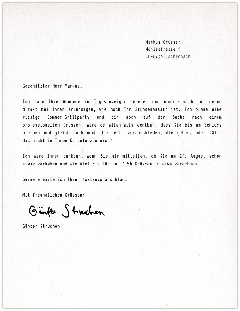 Markus Grüsser Anfrage