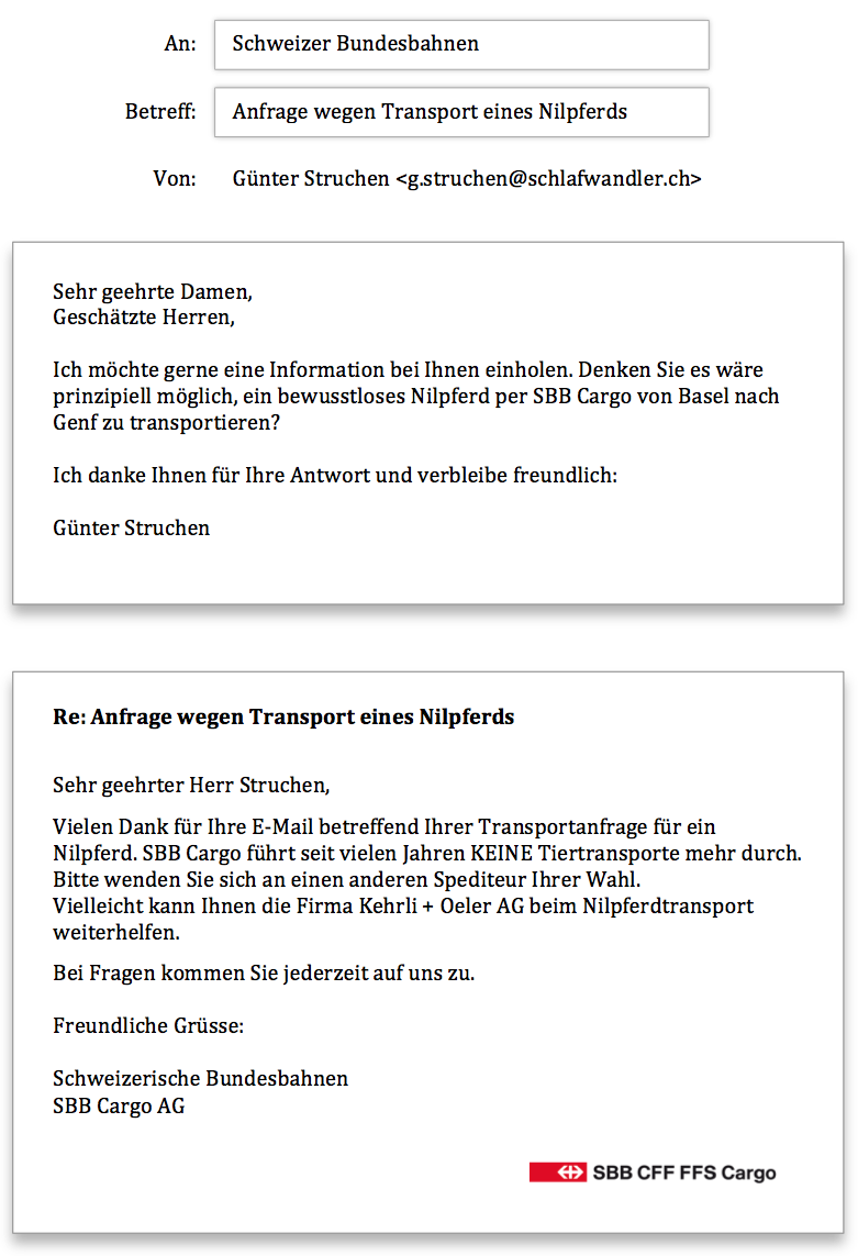 SBB Anfrage