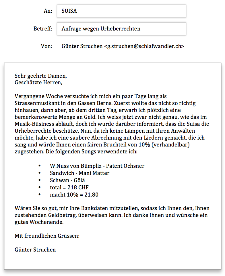 Anfrage Suisa