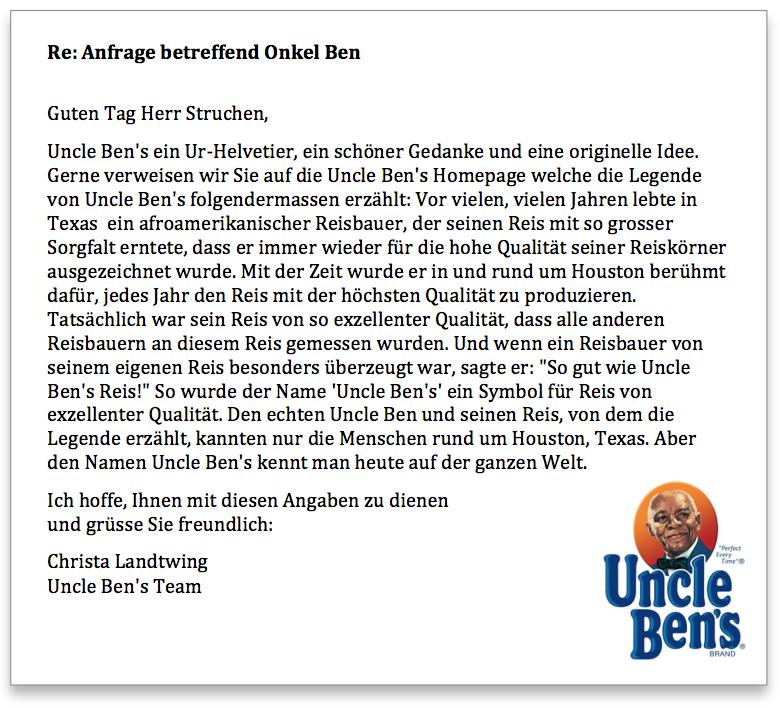 Antwort Uncle Bens