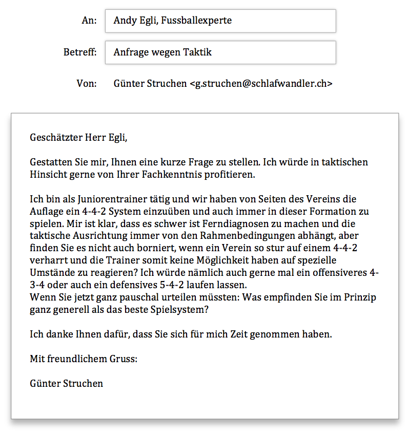 Andy Egli Anfrage