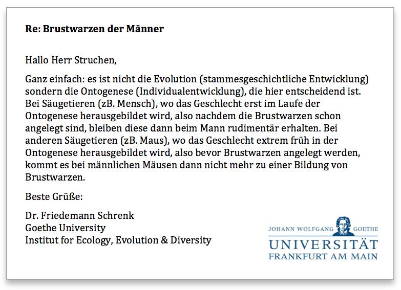 Antwort Goethe Universität