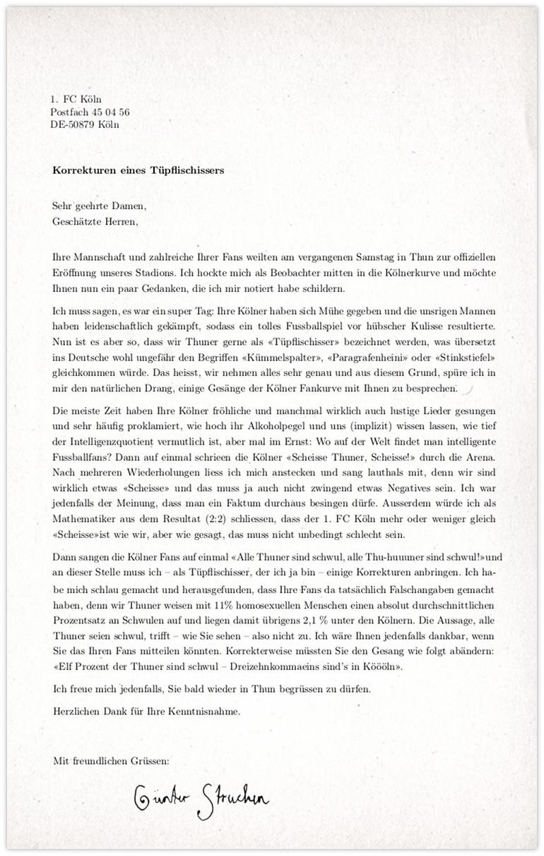 FC Köln Anfrage