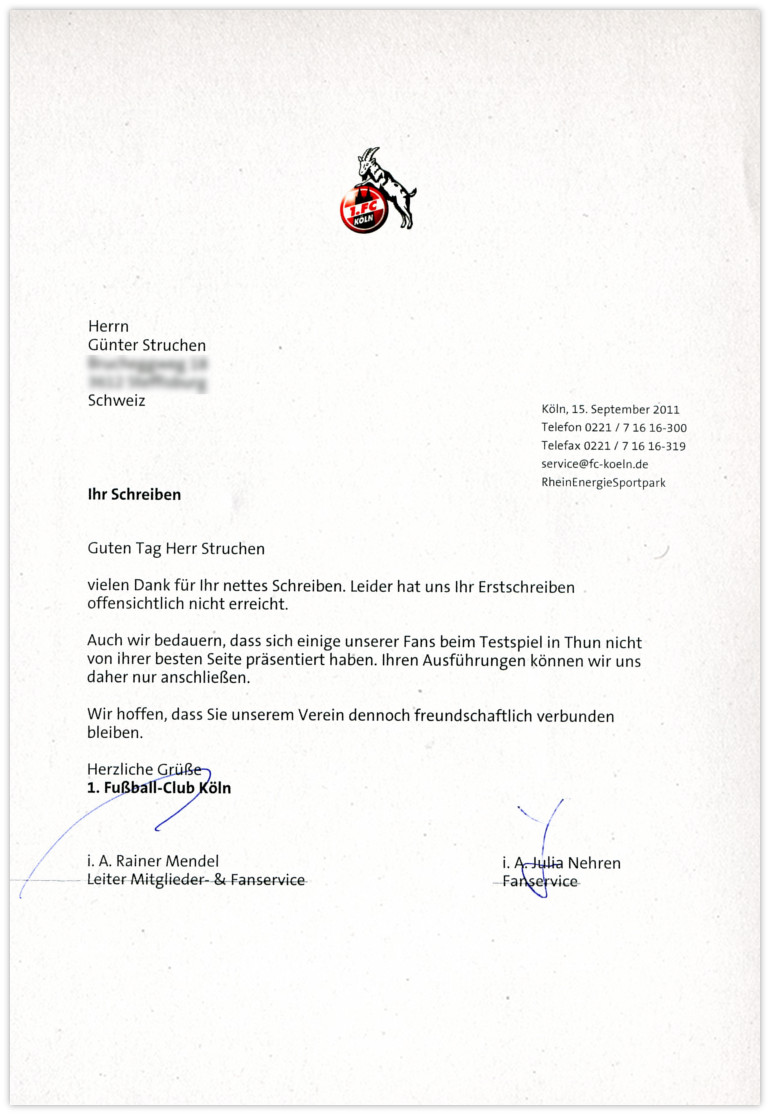 FC Köln Antwort