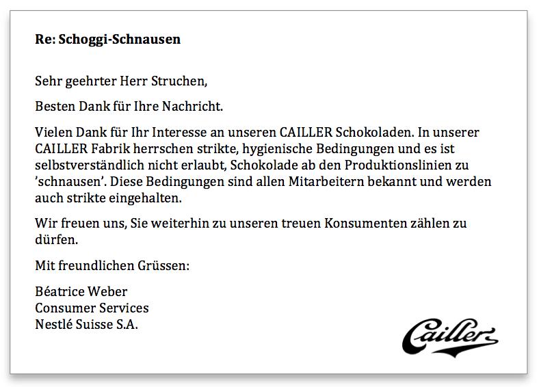 Cailler Antwort