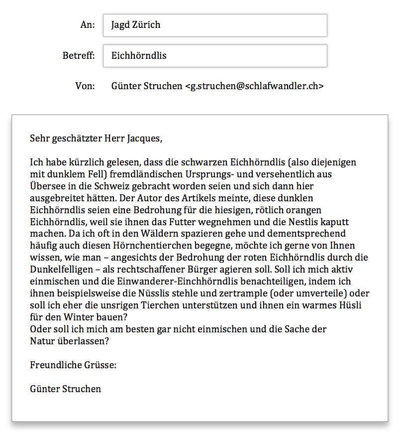 Jagd Zürich Anfrage