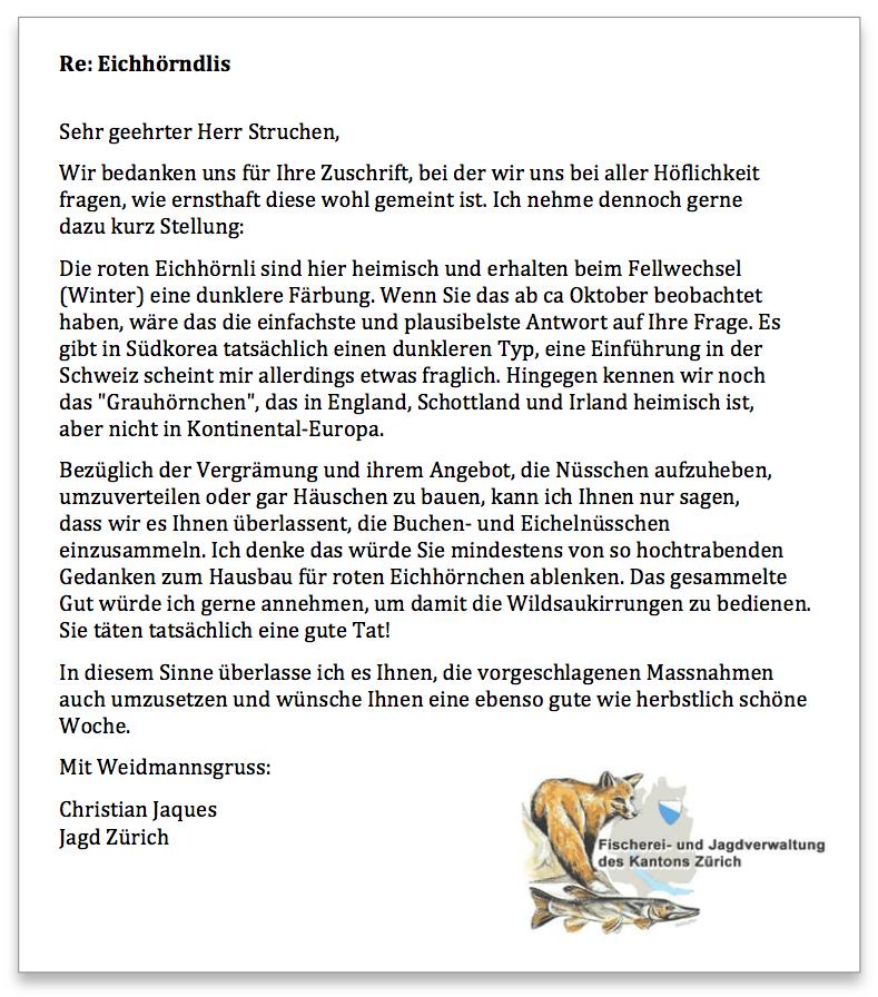 Jagd Zürich Antwort