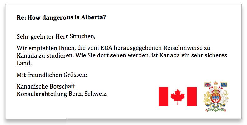 Kanadische Botschaft Antwort