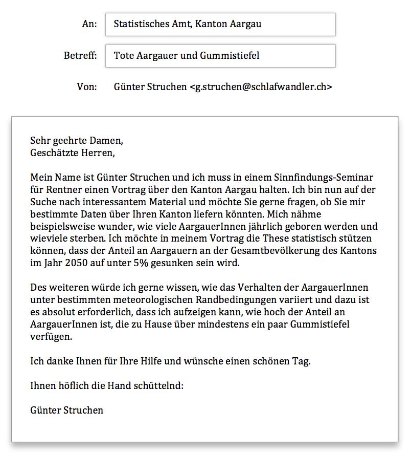 Statistisches Amt Aargau Anfrage