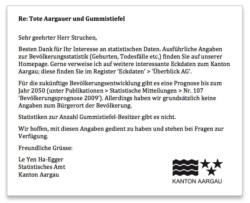 Statistisches Amt Aargau Antwort