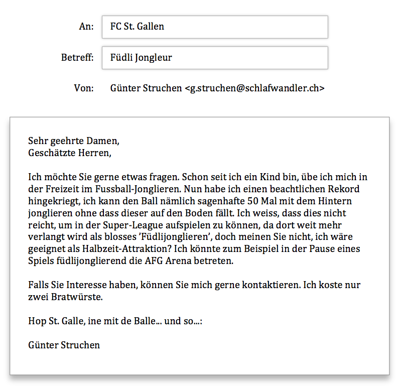 FCSG Anfrage