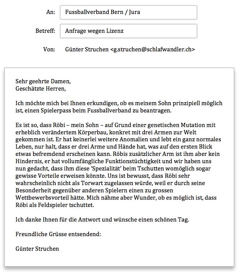 Bern Jura Fussballverband Anfrage