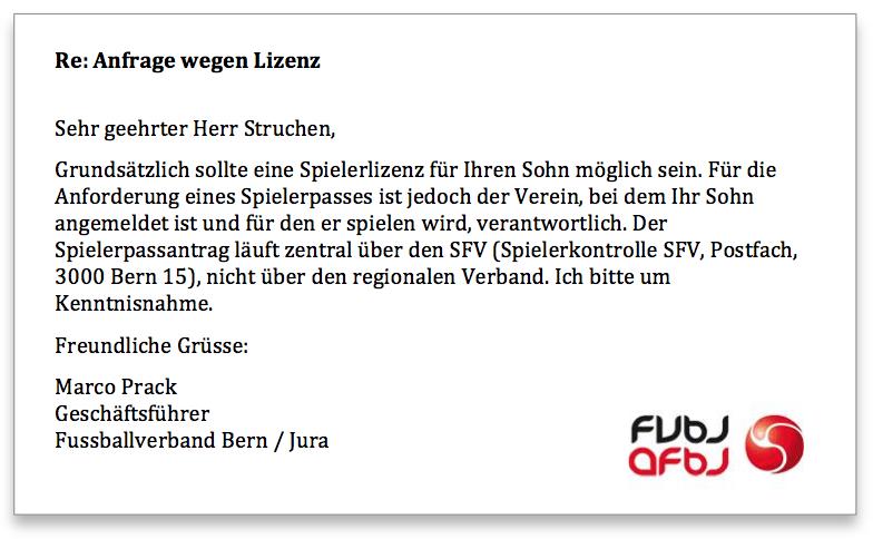 Bern Jura Fussballverband Antwort