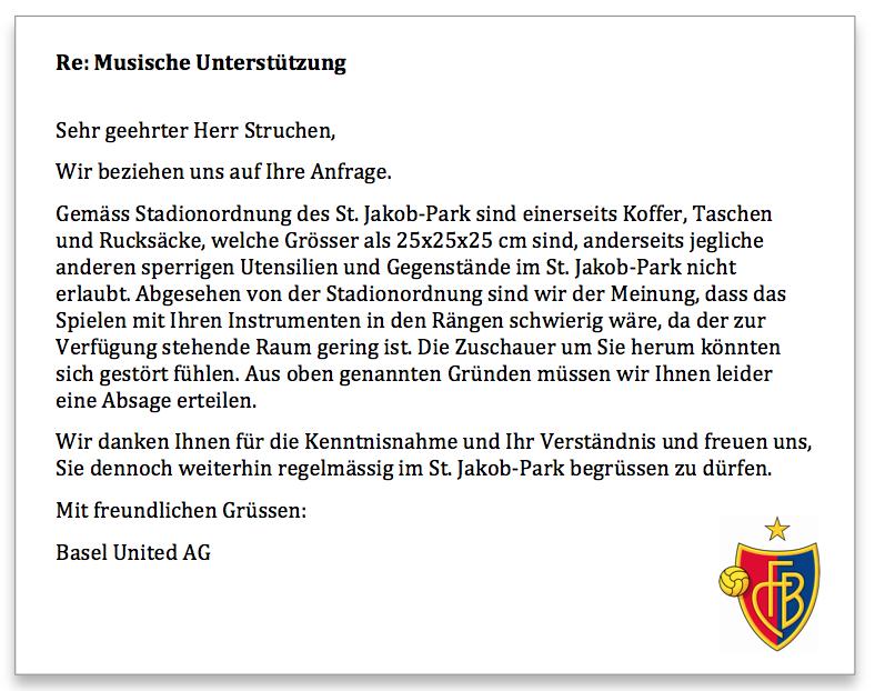 FC Basel Antwort