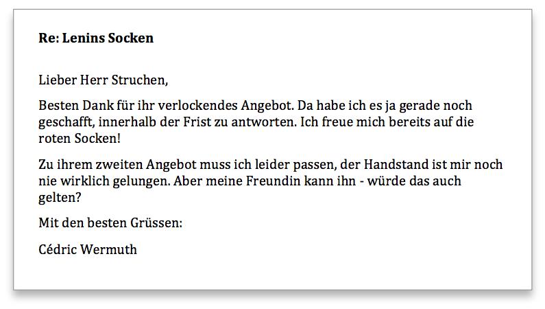 Wermuth Antwort