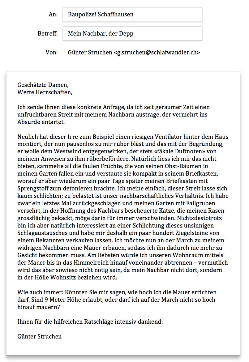 Baupolizei Schaffhausen Anfrage