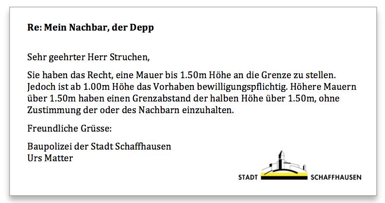 Baupolizei Schaffhausen Antwort