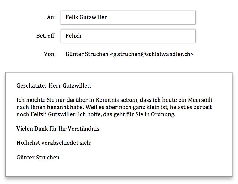 Felix Gutzwiller Anfrage