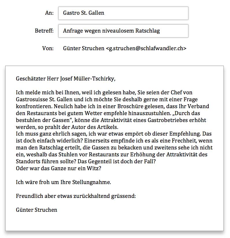 Gastro St. Gallen Anfrage