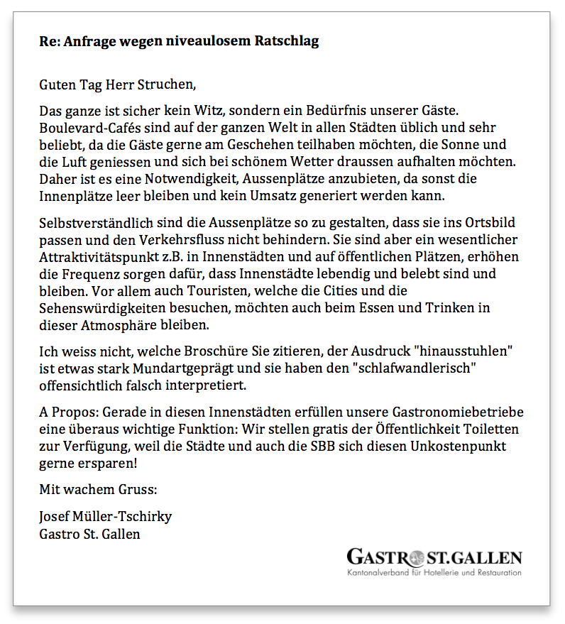 Gastro St. Gallen Antwort