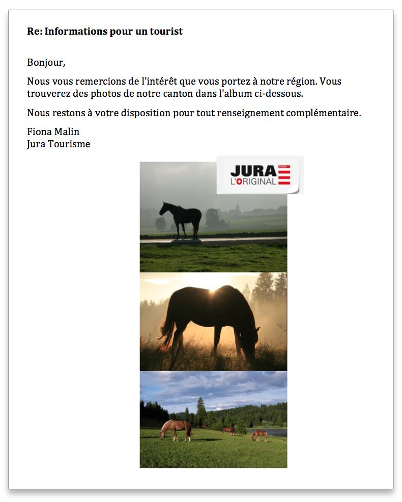 Jura Tourisme Antwort