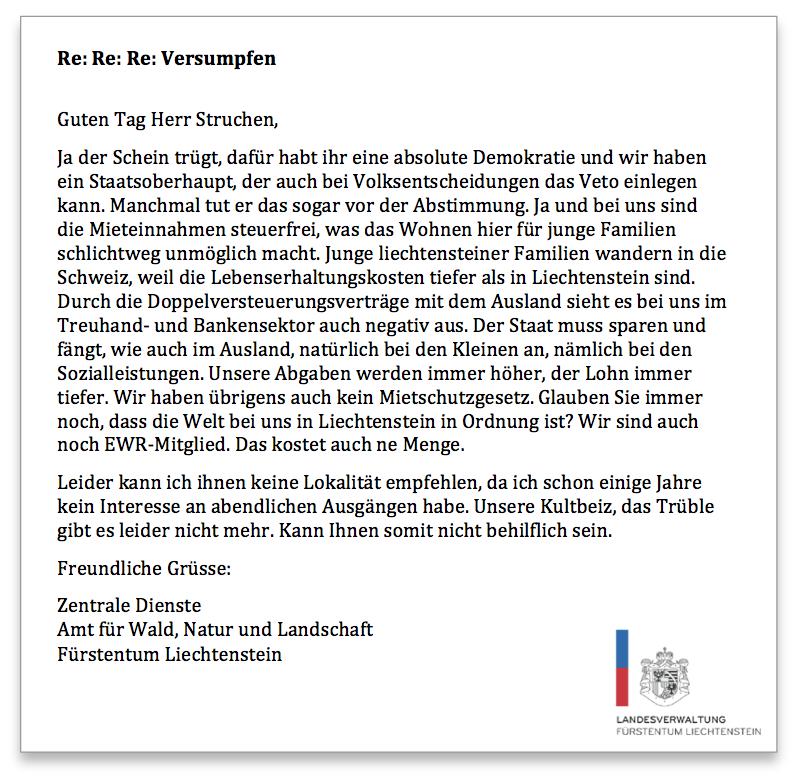 Liechtenstein Anfrage 4