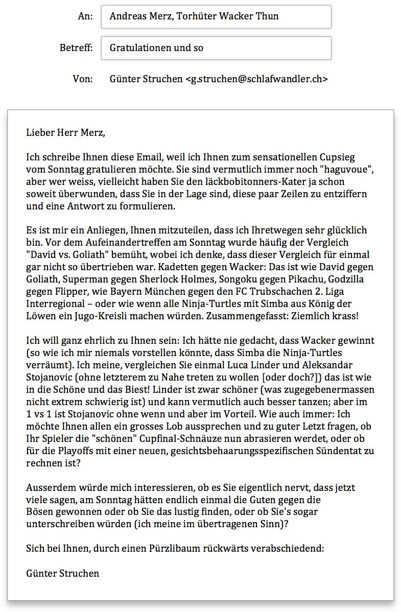 Wacker Thun Anfrage