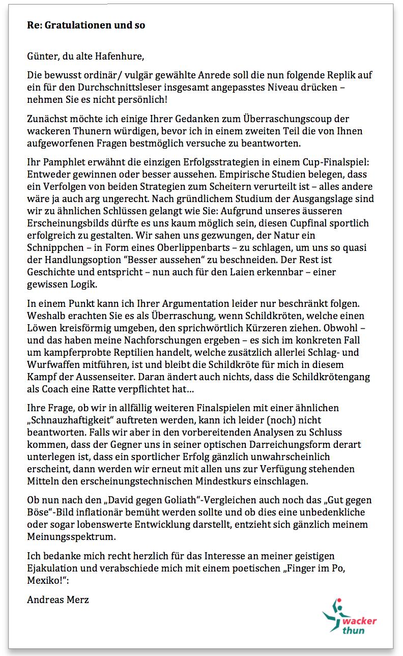 Wacker Thun Antwort