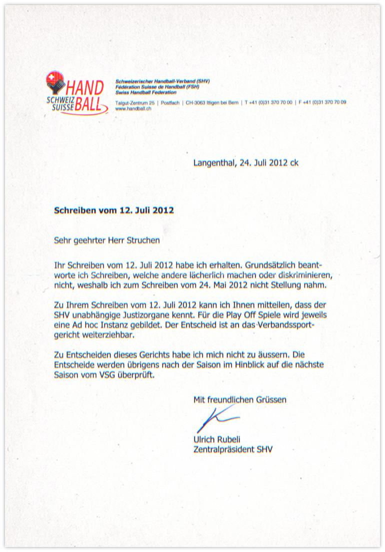 Handballverband Antwort