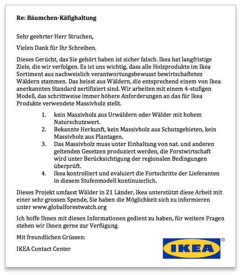 IKEA Antwort