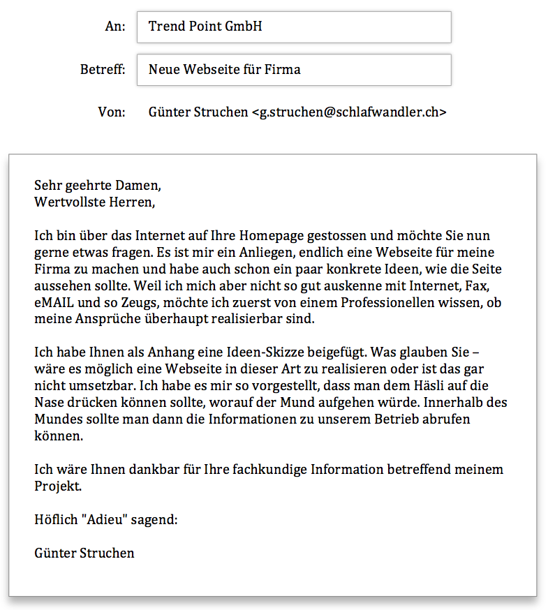 Trendpoint Anfrage Häsliwebseite