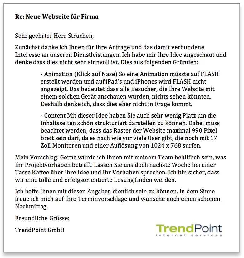 Trendpoint Antwort Häsliwebseite