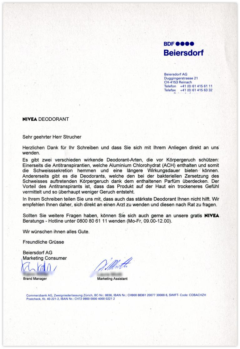 Beiersdorf Antwort