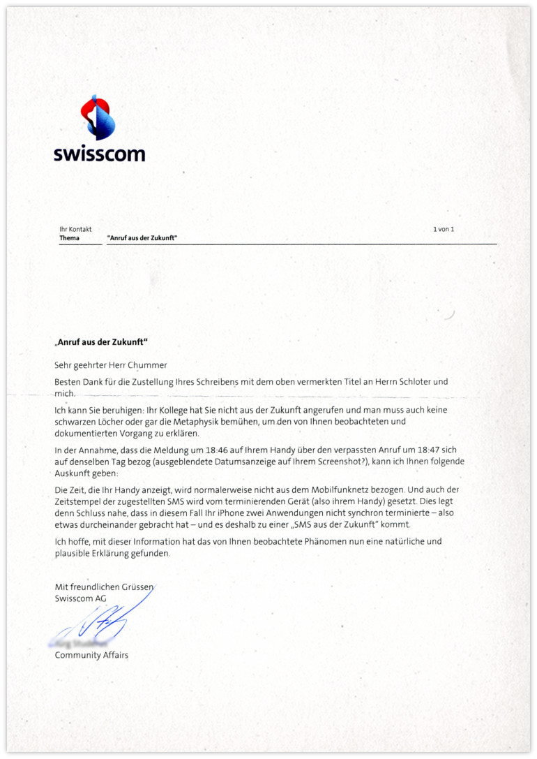 Swisscom Antwort