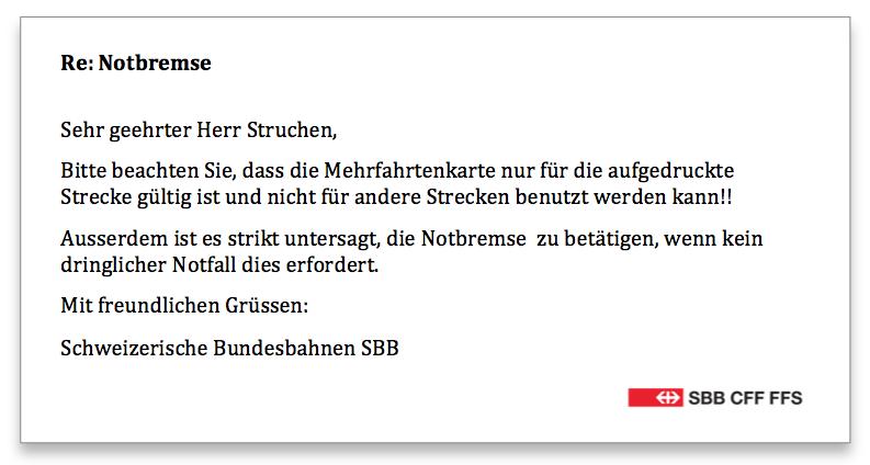 SBB Notbremse Antwort