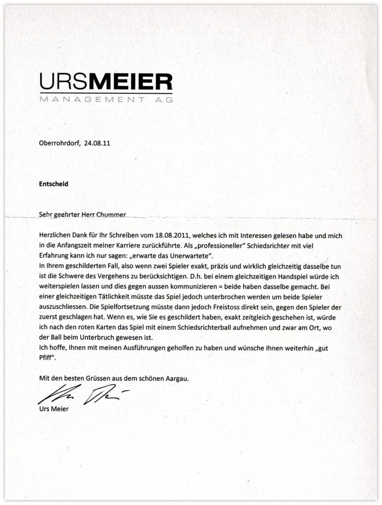 Urs Meier Antwort
