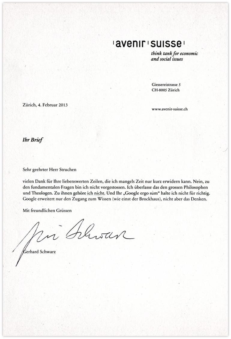 Avenir Suisse Antwort