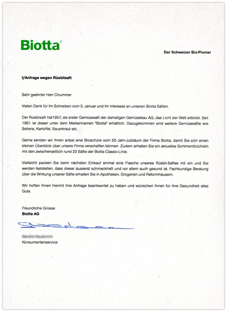 Biotta Antwort