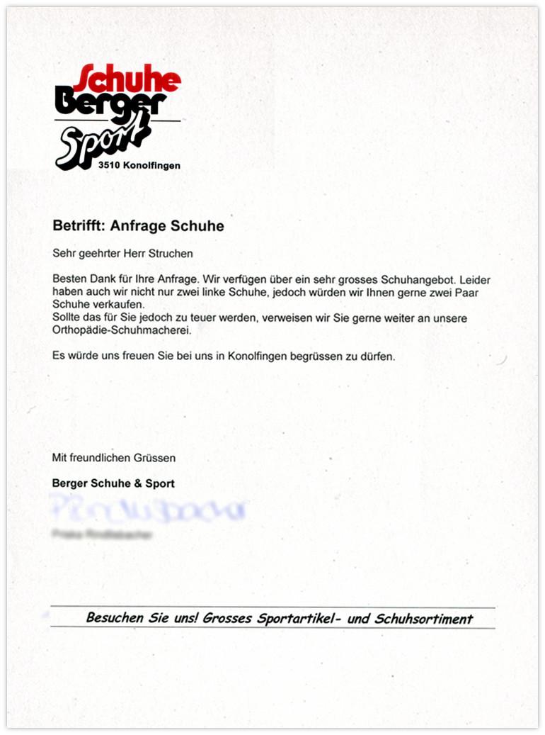 SchuheBerger Antwort
