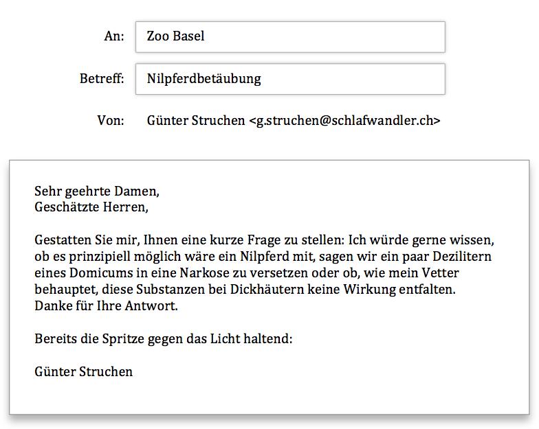 Zoo Basel Anfrage
