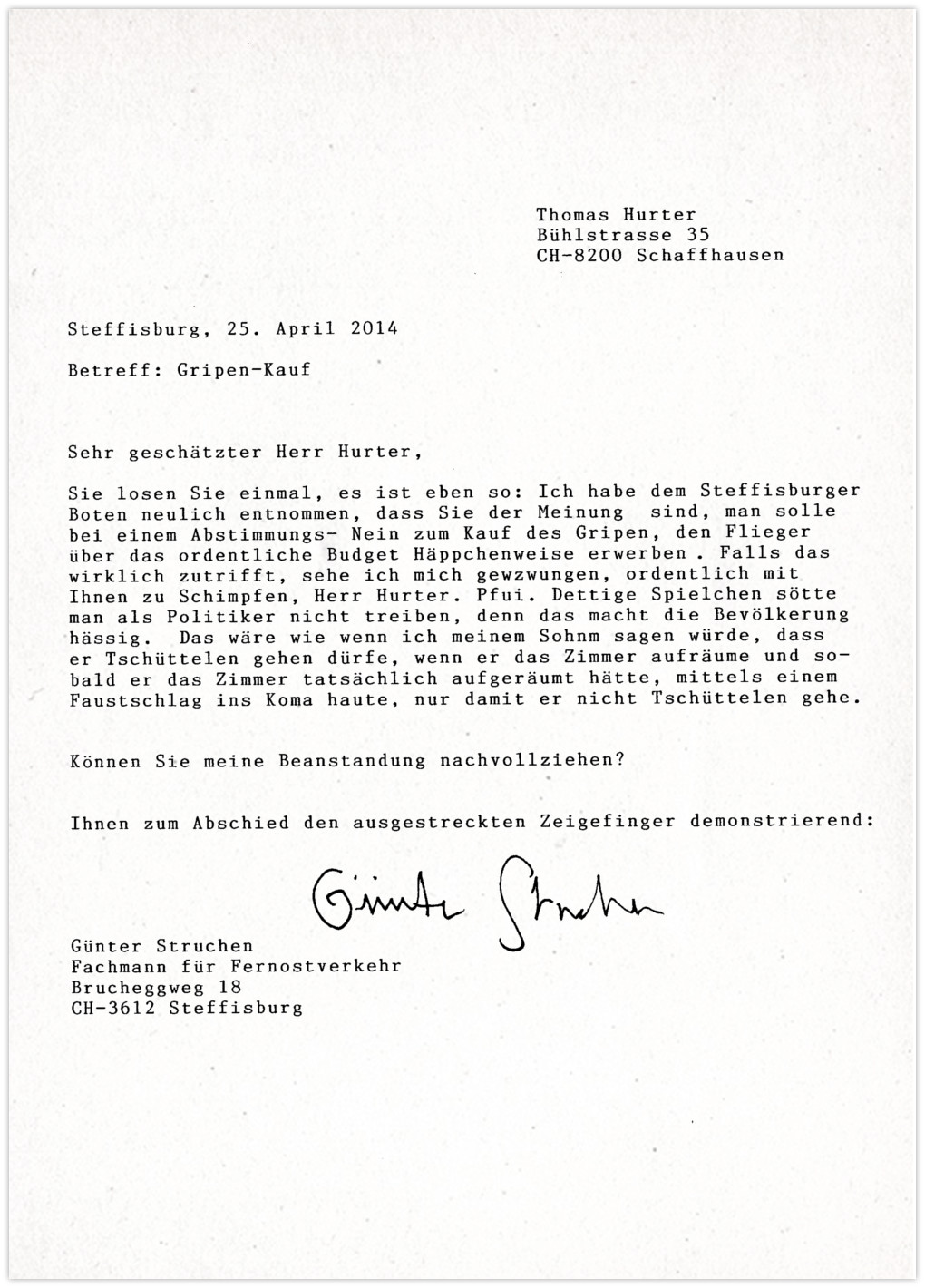 Thomas Hurter Gripen Kauf Plan B- Anfrage