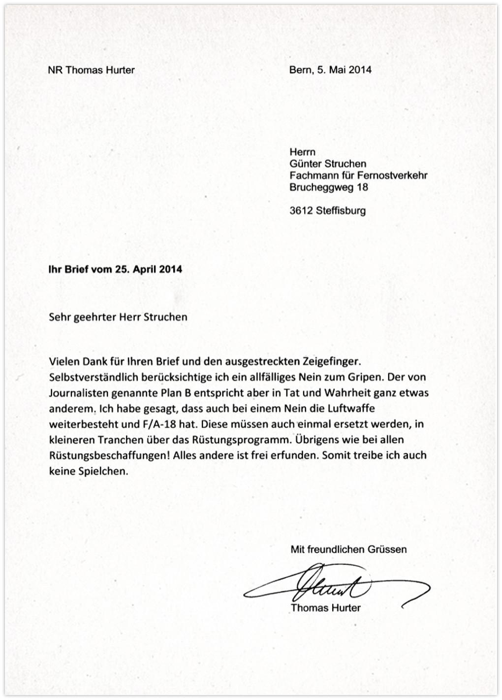 Thomas Hurter Gripen Kauf Plan B- Antwort