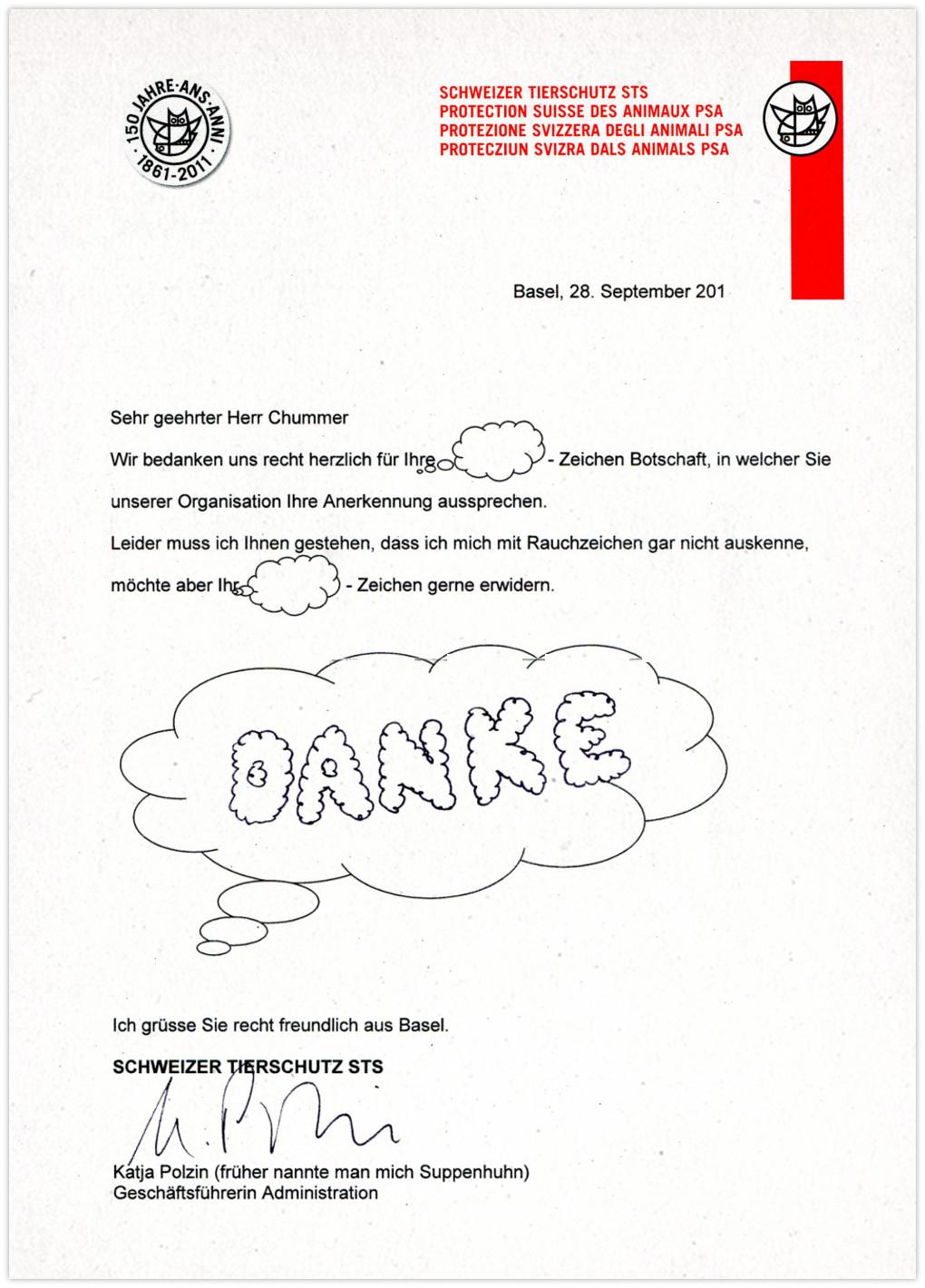 Tierschutz Schweiz Antwort