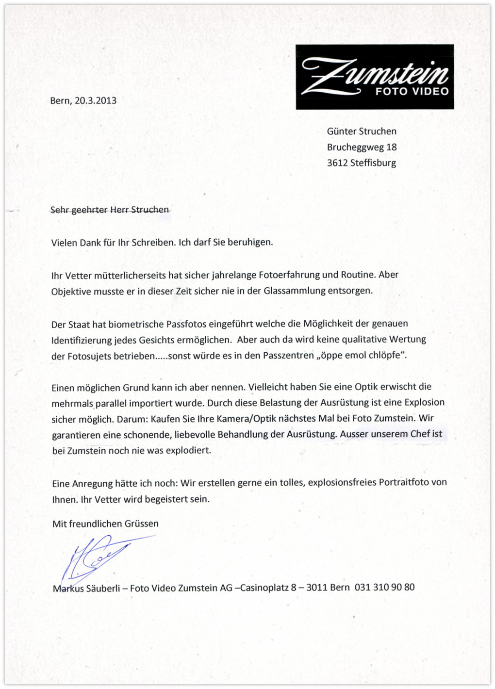 Zumstein Antwort