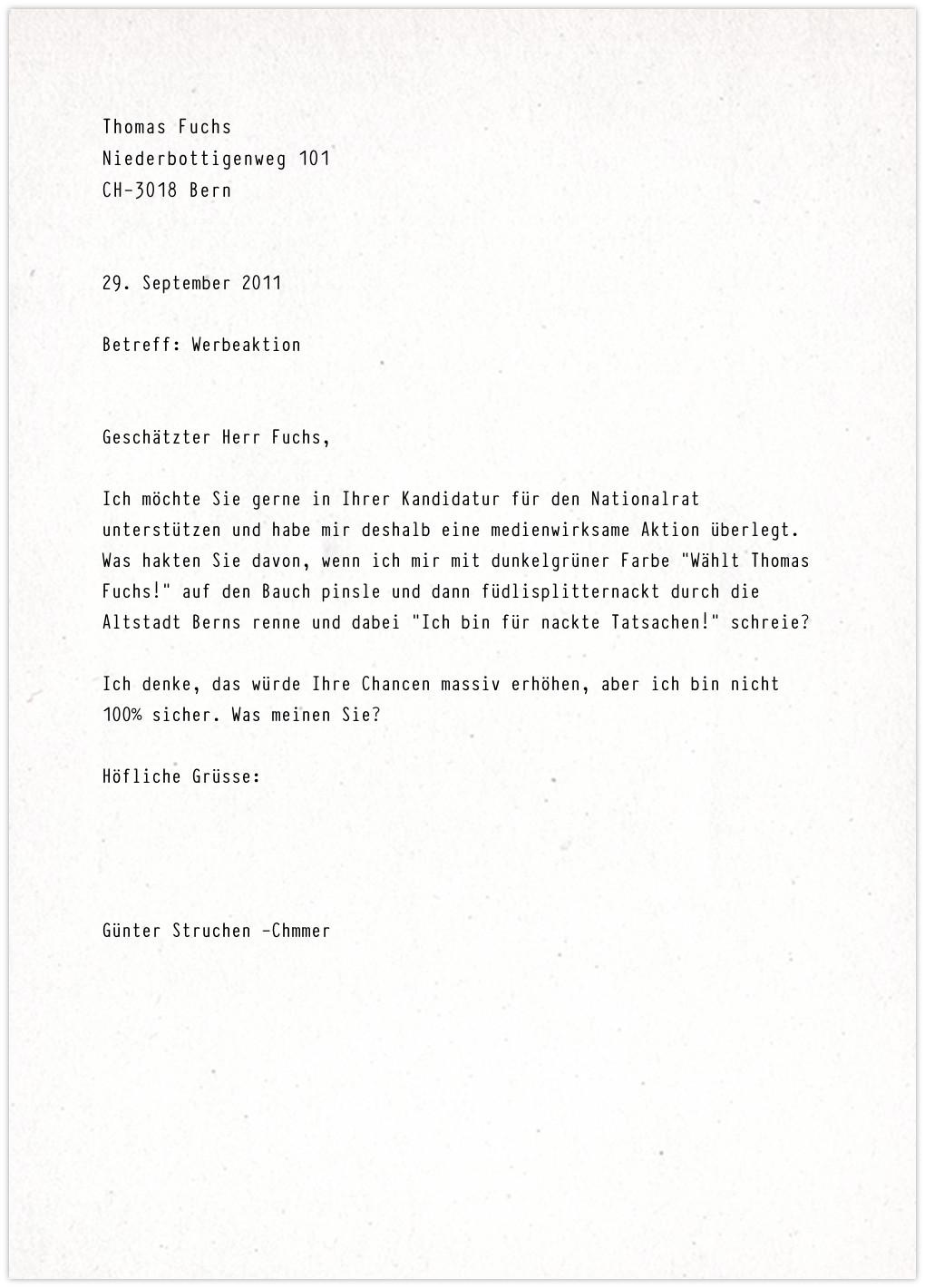 Thomas Fuchs - Anfrage
