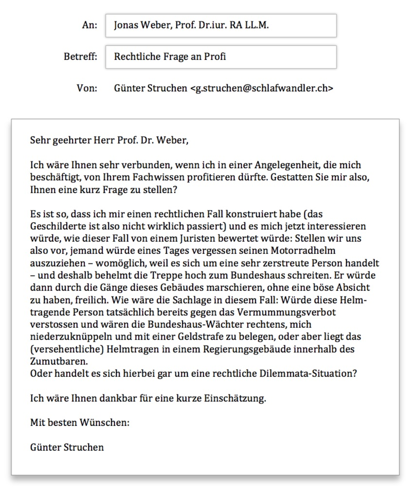 Helmtragen im Bundeshaus - Anfrage