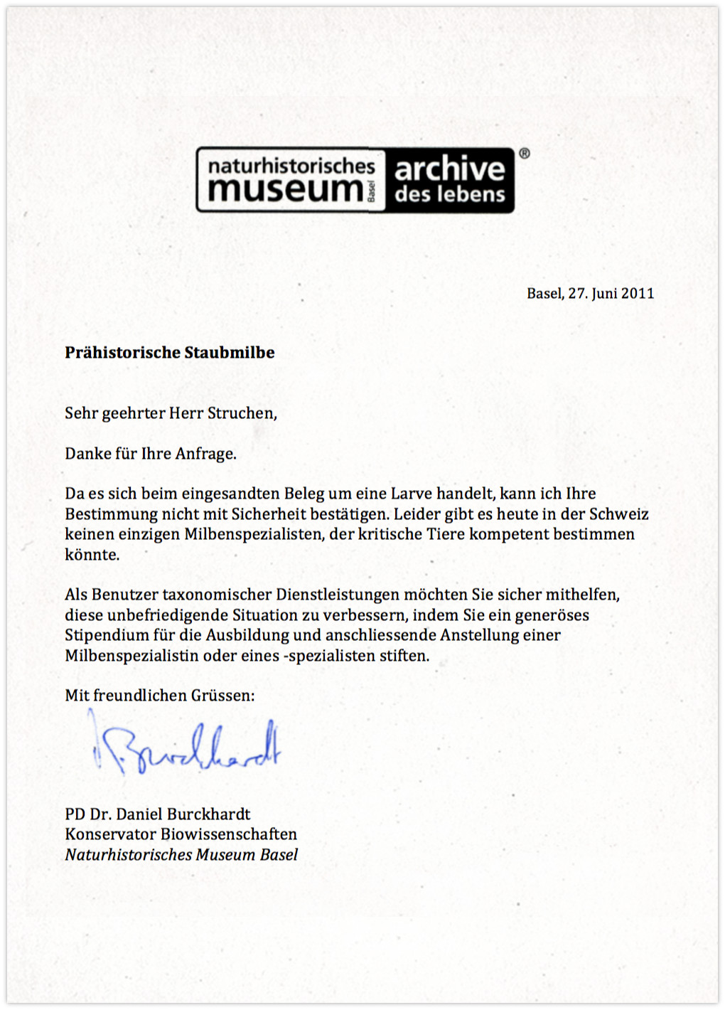 Naturhistorisches Museum - Antwort