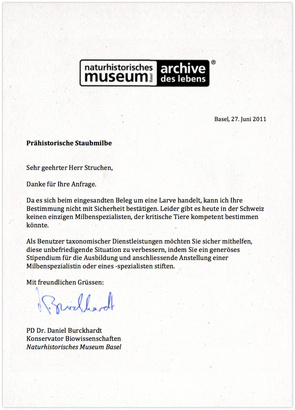 Naturhistorisches Museum - Antwort