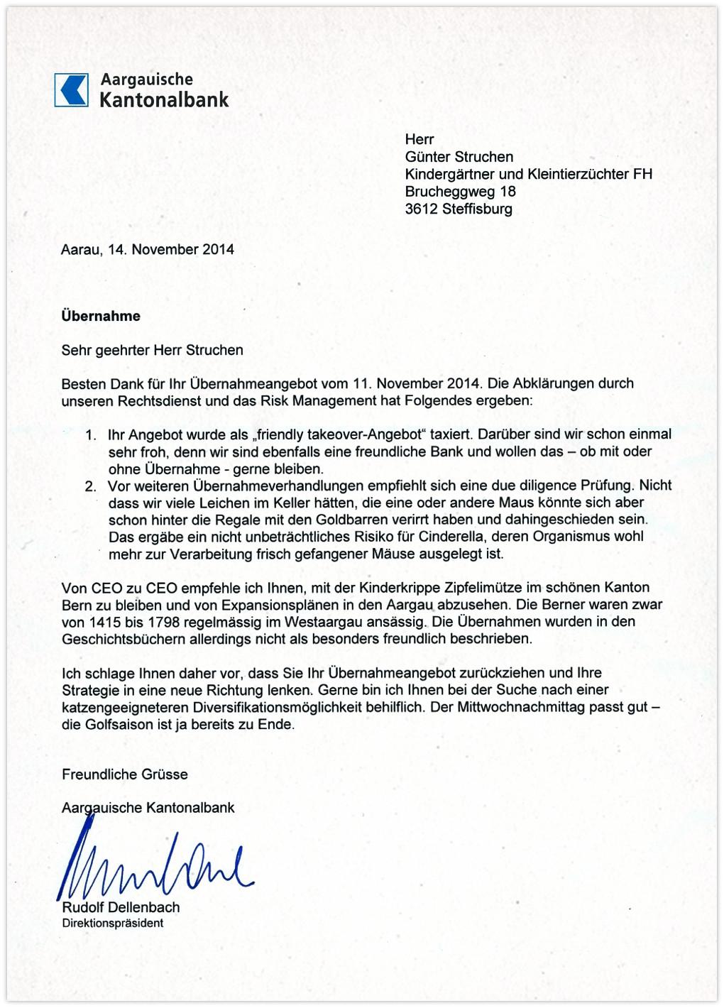 Aargauer Kantonalbank - Antwort