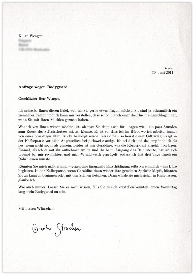 Kilian-Wenger-Anfrage